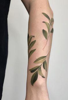Dasha Ebalotnaya leaves Tattoo Forearm Cover Up Tattoos, Girl Leg Tattoos, Rose Tattoo Forearm, Girls With Sleeve Tattoos, Head Tattoos, Mini Tattoos, Flower Tattoos, Small Tattoos, Cool Tattoos