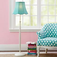 polka dot chair, in aqua no less! I love that it is an older style chair with that great fabric on it.