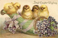 Best Easter Wishes, Four Chicks on a cornucopia of Violet flowers Easter Egg Crafts, Easter Art, Easter Stuff, Easter Ideas, Vintage Cards, Vintage Postcards, Vintage Images, Easter Wishes, Easter Cross