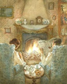 Home Illustration Cosy Super Ideas Art And Illustration, Vintage Prints, Vintage Art, Happy Merry Christmas, Christmas 2019, Deco Retro, Foto Art, Norman Rockwell, Mail Art