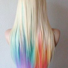 50 Stunningly Styled Unicorn Hair Color Ideas to Stand Out from the Crowd Boring hair days are for boring hair. Once you hop onboard the [. Hidden Rainbow Hair, Pastel Rainbow Hair, Colorful Hair, Pastel Pink, Pastel Hair Tips, Pastel Blonde, Rainbow Wig, Dyed Hair Pastel, Multicolored Hair