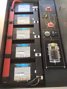 Battery bank with bus bars and electrical control panel offroad camping trailer