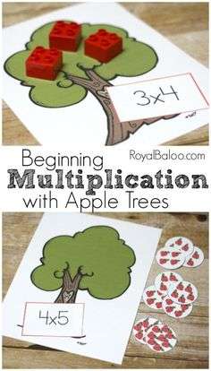 Learn Multiplication with an apple theme! Beginning Multiplication with Apple Trees and free printable. Multiplication Activities, Math Activities For Kids, Fun Math Games, Math Resources, Kids Learning, Number Activities, Math Fractions, Maths Fun, Kids Math
