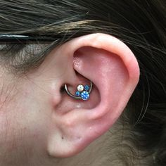 Fresh daith with this beautiful cluster from @anatometalinc done here at @precisionbodyarts #piercing#daith#ear#fancy
