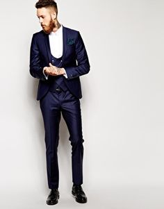 Noose & Monkey Suit With Shawl Lapel In Skinny Fit Blue