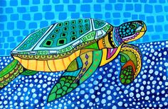britto inspired -- Sea Turtle Folk Art Ceramic Tile - Animal Tile Coaster - Modern Unique Gift Colorful Coaster Modern Art via Etsy Sea Turtle Jewelry, Sea Turtle Art, Turtle Love, Sea Turtles, Turtle Necklace, Kunst Poster, Poster Prints, Art Prints, Arte Popular