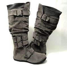 Amazon.com: Womens Knee High Faux Suede Flat Winter Buckle Boots Gray , 10: Shoes