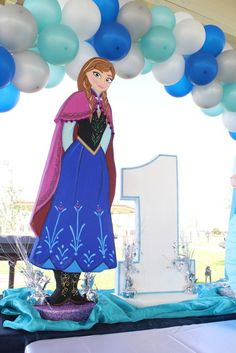 Themed decorations at  a Frozen birthday party!  See more party ideas at CatchMyParty.com!