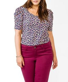 Ruched Floral Top | FOREVER21 PLUS - 2031556594