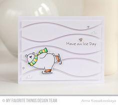 Polar Bear Pals Stamp Set and Die-namics, Horizontal Snow Drifts Cover-Up Die-namics - Anna Kossakovskaya  #mftstamps