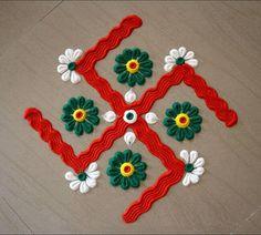 Welcome Rangoli, Rangoli Colours, Decoration For Ganpati, Rangoli Ideas, Rangoli Designs Images, Crochet Necklace, Clock, March, Wall