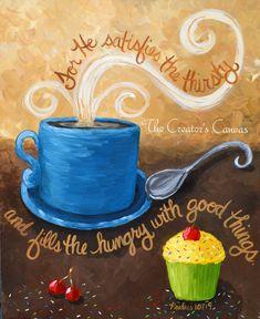 Coffee and Cupcake Original Acrylic Painting with Bible Verse, Scripture Mug, Cup, Tea