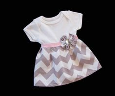 BOUTIQUE Baby CHEVRON Onesie DRESS... in grey and white on Etsy, $36.00 spoon want this for Kaitlynn