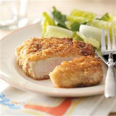Breaded Pork Chops Recipe -These traditional pork chops have a wonderful home-cooked flavor like the ones Mom used to make. The breading makes them crispy outside and tender and juicy inside. Why not treat your family to them tonight? —Deborah Amrine, Grand Haven, Michigan