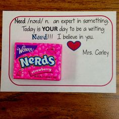 "Inspire a sister to be a ""nerd"" before a big test or project."