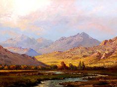 Tinus De Jongh (SA 1885 - Oil, Mountain Landscape with River Mountain Landscape, Landscape Art, Landscape Paintings, Landscapes, Luxury Landscaping, Landscaping Company, Oil Painting For Sale, Light Painting, Love Art
