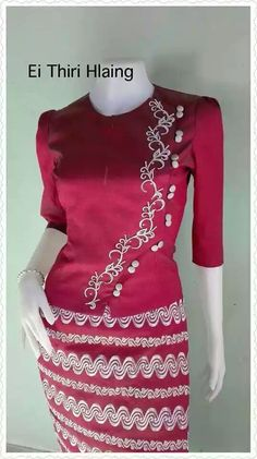 Myanmar Traditional Dress, Traditional Dresses, Classy Fall Outfits, Myanmar Dress Design, Flower Button, Long Blouse, Silk Dress, Blouse Designs, African Fashion