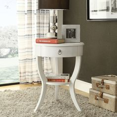 Neo White Oval Curvilinear Legged Nightstand - Neo Round Nightstand In White Color http://www.overstock.com/Home-Garden/Neo-White-Oval-Curvilinear-Legged-Nightstand/8231876/product.html?CID=214117 $159.99