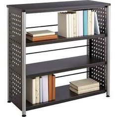 Safco 1602BL Scoot 3-Shelf Bookcase, Black; The Perforated Steel with