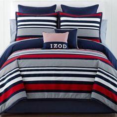 IZOD® Varsity Stripe Comforter Set & Accessories found at Teen Bedding Sets, Red Bedding, Quilt Bedding, Comforter Sets, Luxury Bedding, Bedroom Comforters, Dorm Bedding, Sports Bedding, Nautical Bedding