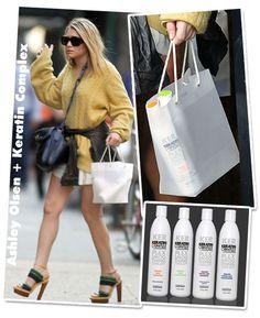 Já que não dá pra comprar as mesmas coleções de sapatos Chanel ou vestidos McQueen das gêmeas Olsen, que ao menos copiemos os shampoos! Como eu sou taurina e bem curiosa, foi só ver Miss Ashley com uma bolsa de plástico transparente pra eu fazer uso da ferramenta zoom do photoshop e descobrir a marca …
