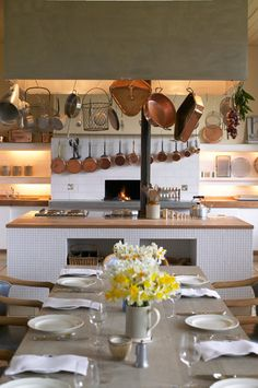dream kitchen. beautiful copper pots and pans