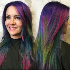 Brunette hair color with highlights, alternative hair, unicorn hair, hair s Brunette Hair Color With Highlights, Blond Ombre, Oil Slick Hair Color, Hair Colour, Peekaboo Hair, Dyed Hair Pastel, Slick Hairstyles, Alternative Hair, Living At Home