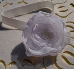 white hair band  for CHILDREN and BABIES with the tulle flower by CuteHairBand,