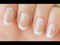 French tip and lace ★ Please expand :D ★      ❤ A pretty manicure look, perfect for a special occasion or for a wedding ❤   - Materials (0:15) - Base coat (1:06) - Base color (1:17) - French tips (1:29) - Lace accent (2:01) - Glitter overlay (2:38) - Topcoat (2:48)   TIP:  Using the m19 french manicure plate does take some practice to align your white tips correctl...