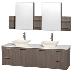 Wyndham Collection 'Amare' 72-inch Grey Oak/ White Top/ Bone Sink Vanity Set