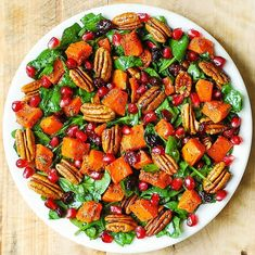 Butternut Squash and Spinach Salad with Pecans, Cranberries, Pomegranate - Julia's Album