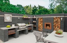 Outdoor Kitchen Designs To Get Things Cooking In Your Backyard: These outdoor kitchen design ideas are ideal for backyard entertaining. Spend more time outside this summer with these outdoor patio kitchens. Outdoor Rooms, Outdoor Gardens, Outdoor Decor, Backyard Patio Designs, Backyard Landscaping, Modern Outdoor Kitchen, Rustic Outdoor Kitchens, Modern Outdoor Living, Outdoor Heaters