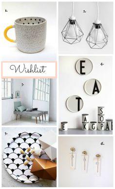 Interior wishlist 2014 - dot mug, wired geometric lamp, striped bench, design letters, geometric tray