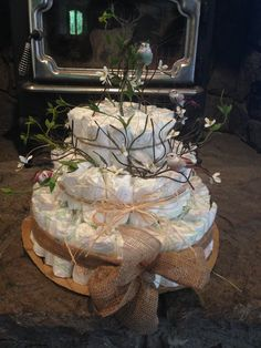 My Own Version Of A Rustic Diaper Cake For Woodland Baby Love
