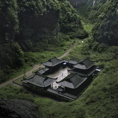 """""""The temple building at Wulong Natural Rock Bridges, UNESCO World Heritage Site, Chongqing Municipality, China. Wulong is located at the southeast of Chongqing, 170 kilometres from Chongqing City. Places To Travel, Places To See, Hidden Places, Beautiful World, Beautiful Places, House Beautiful, Chinese Courtyard, Château Fort, Japanese Architecture"""