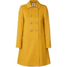 Orla Kiely Wool Jersey Seamed Coat (198.610 CLP) ❤ liked on Polyvore featuring outerwear, coats, jackets, coats & jackets, orla kiely, mustard, mustard yellow coat, mustard coat, double breasted coat and vintage style coats