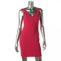 NWTGuess Pink Ribbed V-Neck Mini Dress Manufacturer: Guess Size: 2 Size Origin: US Manufacturer Color: Raspberry Retail: $213.89 Condition: New with tags Style Type: Sexy Collection: Guess Silhouette: Sheath Sleeve Length: Sleeveless Closure: Hidden Back Zipper Dress Length: Above Knee, Mini Total Length: 35 Inches Bust Across: 16 Inches Waist Across: 13 Inches Material: 96% Polyester/4% Spandex Fabric Type: Polyester Specialty: Ribbed Guess by Marciano Dresses
