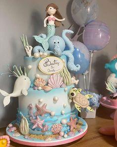 Mermaid Cupcake Cake, Mermaid Birthday Cakes, Cupcake Cakes, 1st Birthday Cake For Girls, 1st Bday Cake, Baby Cake Smash, Nautical Cake, Sea Cakes, Fondant Cake Toppers