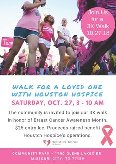 Join us for our Walk in honor of Breast Cancer Awareness Month on Oct. from 8 - 10 a.m at Community Park in Missouri City. Missouri City, Hospice, Community Events, Breast Cancer Awareness, Houston, Join, Park, Parks