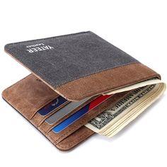 Yateer Fashion Man Short Wallet Casual Canvas Purse Pocket for Money Note Purses for Card Male Billeteras Carteira Portfel 123H