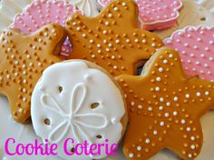 Sea Shell Cookies Clam Sand Dollar Starfish Birthday Baby Shower Wedding Cookie Favors by CookieCoterie, $27.00