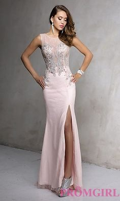 Peach Sleeveless Long Prom Dress by Nina Cannaci at PromGirl.com