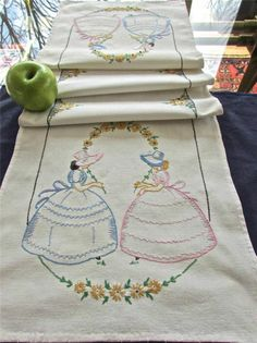 Vintage Vogart Hand Embroidered Southern Belles Table Runner Buffet Scarf 13x41""