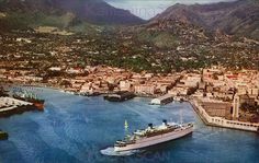 Honolulu Harbor Aerial View Matson liner, either the Lurline or Matsonia, at Honolulu Harbor Pier Pre-zip Mike Roberts Hawaii Color Card postmarked Honolulu Vintage Surf, Vintage Hawaii, Hawaii Honeymoon, Hawaiian Islands, Aerial View, Oahu, Dream Vacations, Travel Pictures