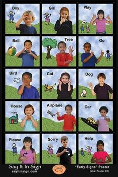 First Signs Poster - ASL Lenticular Poster Baby Sign Language Chart, Sign Language For Kids, Sign Language Phrases, Sign Language Alphabet, Sign Language Interpreter, British Sign Language, First Language, Learn Sign Language Free, Sign Language Colors