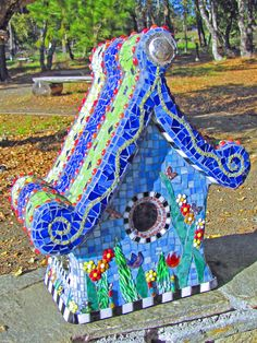 passiflora mosaic  ~  Bonnie Len and her whimsical birdhouse