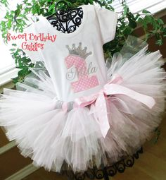 Pink Princess Baby Girl 1st Birthday Outfit with Silver Glitter Crown and Rhinestones and Simmering Silver and Pink Tutu on Etsy, $59.95