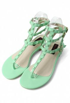 Studded sandals in mint? Yes, please!