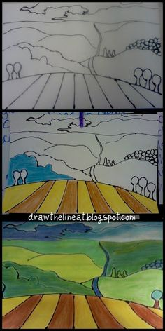 """"""""""" Draw The Line At: Regionalism. Cute landscape drawing lesson using black glue & … """""""" Draw The Line At: Regionalism. Cute landscape drawing lesson using black glue & chalk pastels """""""" Landscape Art Lessons, Landscape Drawings, Landscapes, Landscape Design, Art Lessons For Kids, Art Lessons Elementary, Drawing Lessons, Zentangle, Arte Elemental"""