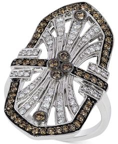 Le Vian Chocolatier® Chocolate Deco™ Chocolate and White Diamond Deco Ring (9/10 ct. t.w.) in 14k White Gold - Le Vian Shop - Jewelry & Watches - Macy's
